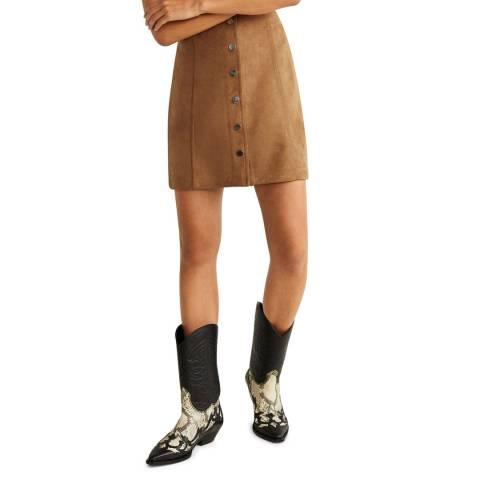 Mango Medium Brown Buttoned Miniskirt