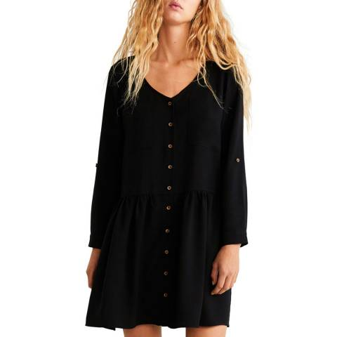 Mango Black Buttons Soft Dress