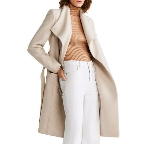 Mango Ecru Belted Wool Coat