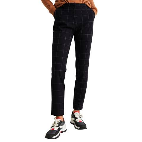 Mango Dark Navy Straight Checked Stretch Trousers