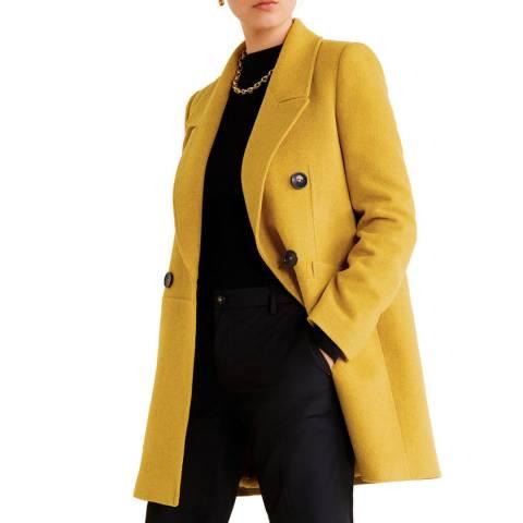Mango Mustard Structured Wool Coat