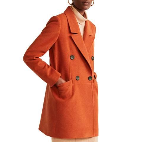 Mango Orange Structured Wool Coat