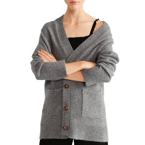 Mango Medium Heather Grey Button Knit Cardigan