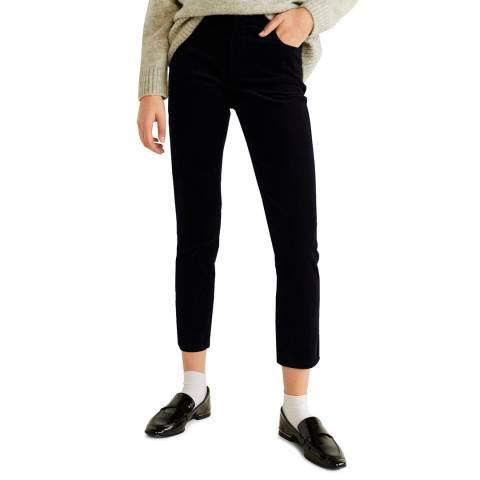 Mango Dark Navy Corduroy Slim-Fit Stretch Trousers