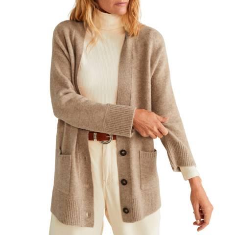 Mango Light/Pastel Grey Button Knit Cardigan