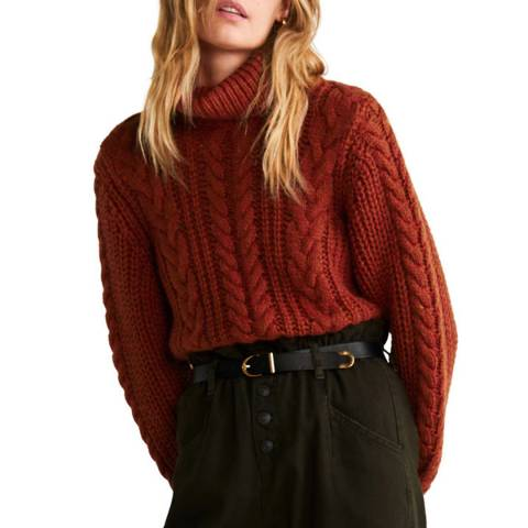 Mango Orange Braided Turtleneck Knit