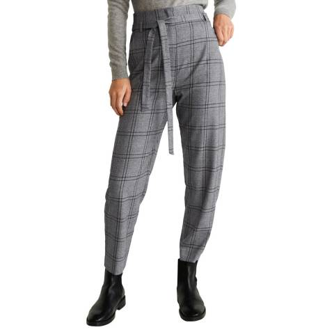 Mango Grey Belt High-Waist Stretch Trousers