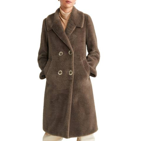 Mango Medium Brown Pocketed Faux-Fur Coat