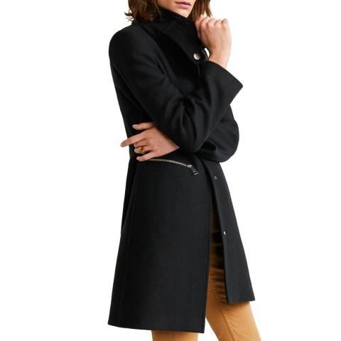 Mango Black Straight-Cut Wool Coat