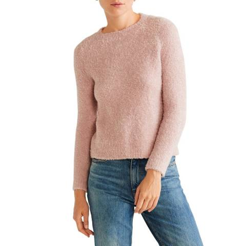 Mango Pale Pink Faux-Shearling Knit