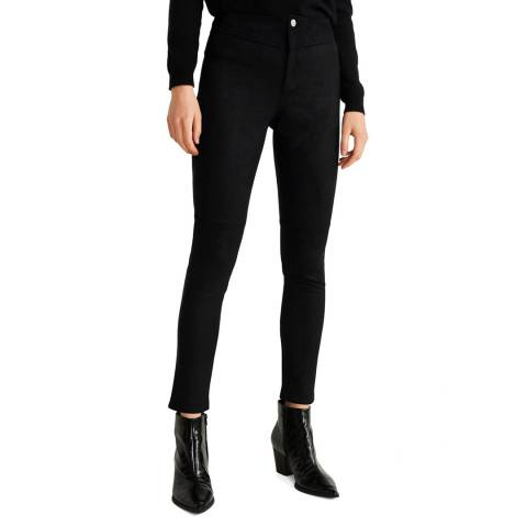 Mango Black Textured Stretch Trousers