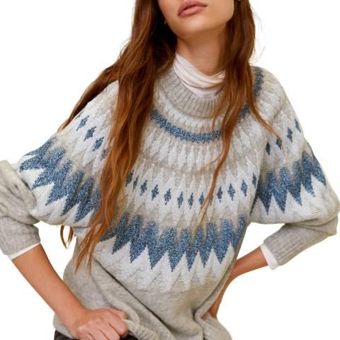 Mango Light Heather Grey Jacquard Knit