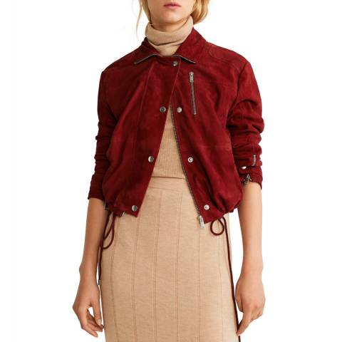 Mango Red Zip Leather Jacket