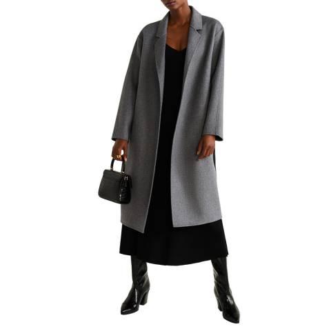 Mango Grey Belted Wool Coat