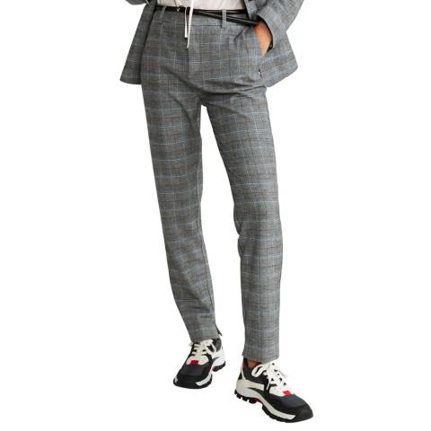 Mango Grey Check Suit Stretch Trousers
