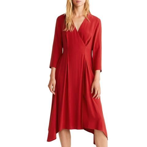 Mango Red Wrapped Midi Dress