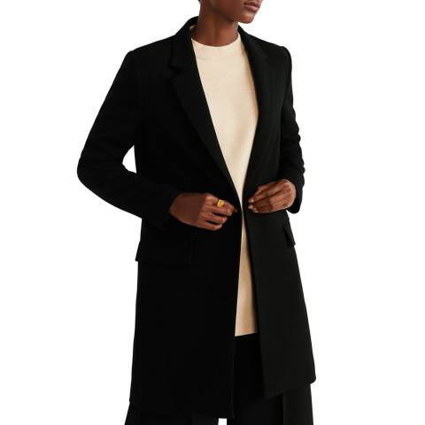 Mango Black Lapelled Straight-Cut Coat