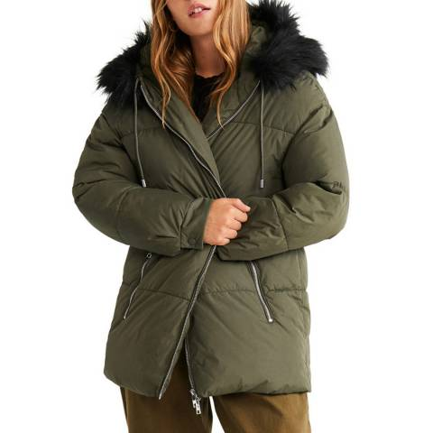 Mango Khaki Side-Zip Quilted Coat
