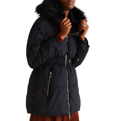 Mango Black Side-Zip Quilted Coat