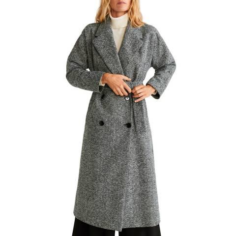 Mango Grey Textured Long Coat