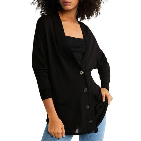 Mango Black Contrasting Buttoned Cardigan