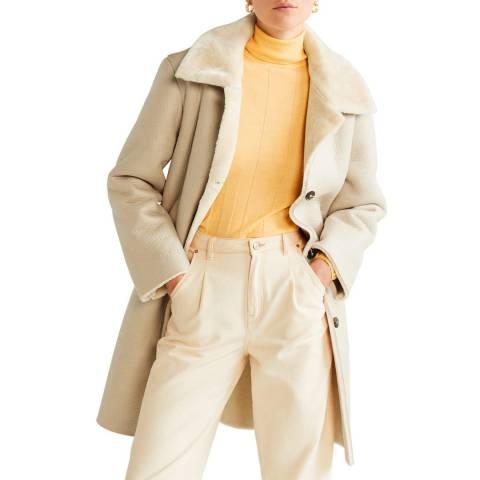Mango Light/Pastel Grey Faux Shearling-Lined Lapel Coat