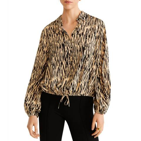 Mango Black Leopard Print Shirt
