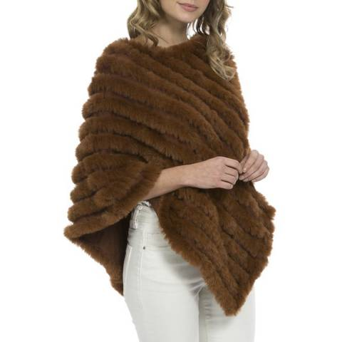 JayLey Collection Brown Cashmere Blend Poncho