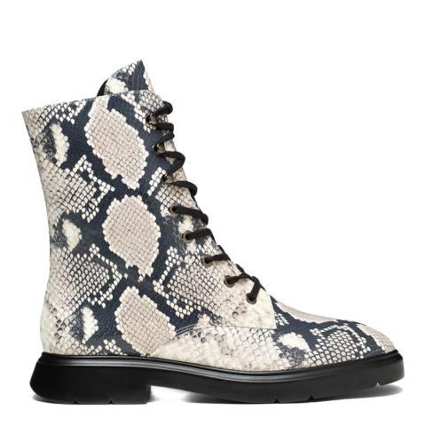 Stuart Weitzman Roccia Snake Print Mckenzee Combat Boots