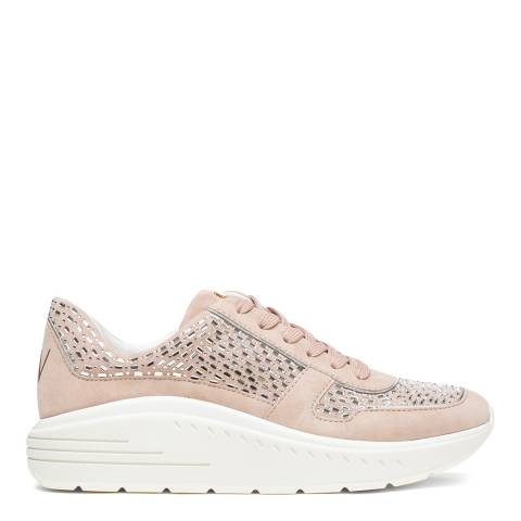 Stuart Weitzman Dolce Taupe Christa Suede Embelished Sneakers