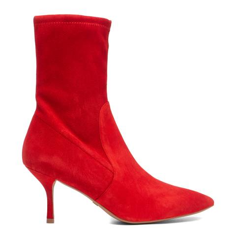 Stuart Weitzman Ruby Red Yvonne 75 Suede Heeled Boots