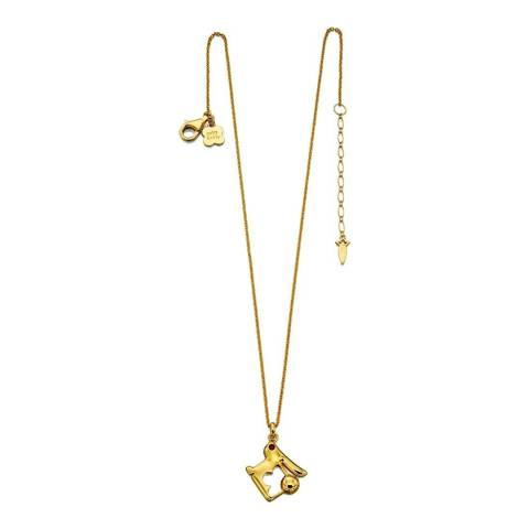 Orla Kiely Red Swarovski Yellow Gold Plated Rabbit Necklace