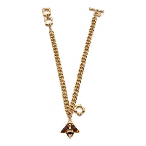 Orla Kiely Gold Plated Tortoiseshell Bee Necklace