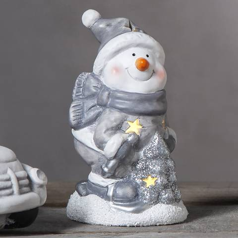 Christmas Magic Grey Snowman Figurine Friends 15cm