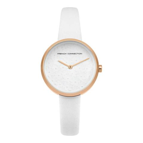 French Connection White Leather Strap Watch