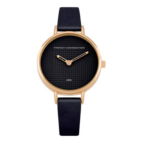 French Connection Metallic Navy Leather Strap Watch