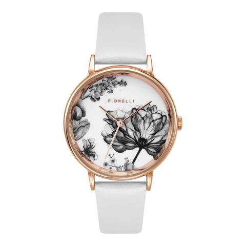 Fiorelli White Floral Dial Watch