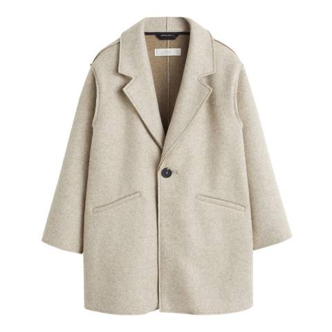 Mango Girl's Beige Camp-Collar Coat