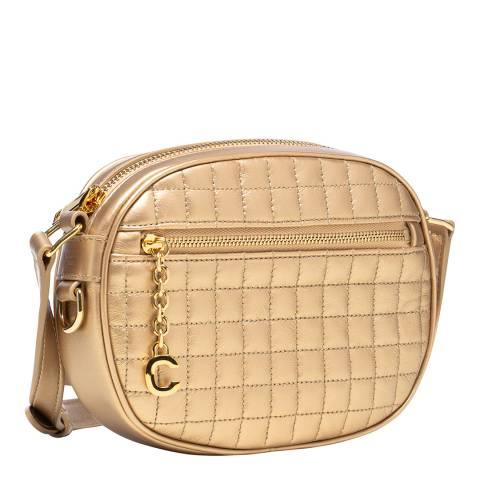 Celine Gold Small C Charm Leather Crossbody Bag