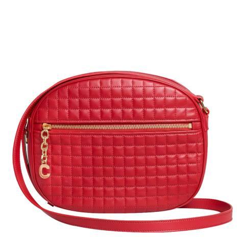 Celine Red Medium C Charm Leather Crossbody Bag