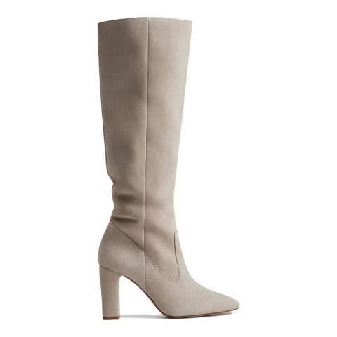Mango Grey Zitro Suede Knee High Boots