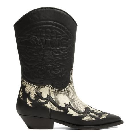 Mango Black Dalton Leather Cowboy Ankle Boots