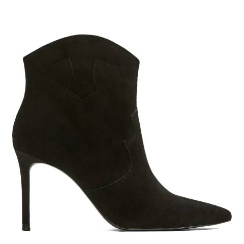 Mango Black Romi Leather Heeled Ankle Boots