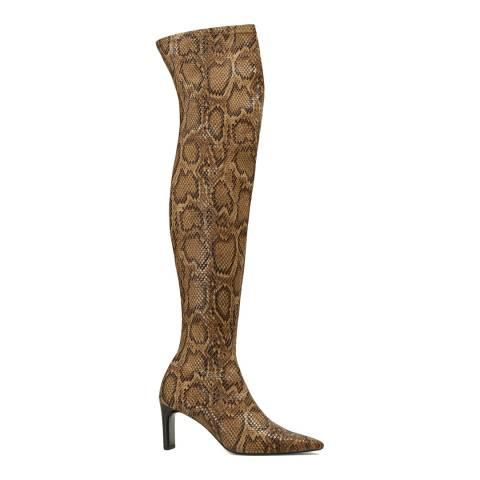 Mango Brown Snake Print Macha Over the Knee Boots