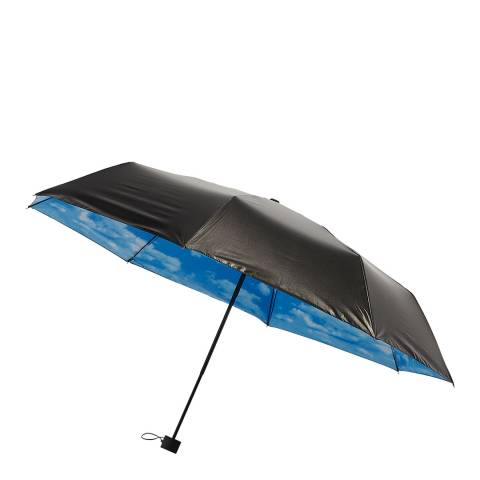 Le Monde du Parapluie Black / Blue Clouds Folding Umbrella