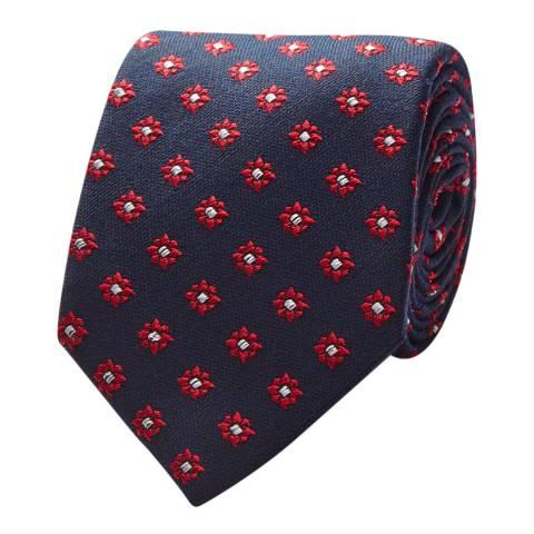 Thomas Pink Navy Red Flower Medallion Tie