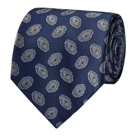 Thomas Pink Navy Oval Medallion Woven Tie