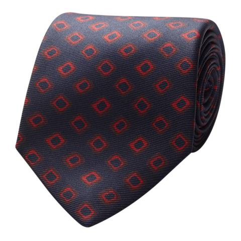 Thomas Pink Navy Red Irregular Square Tie