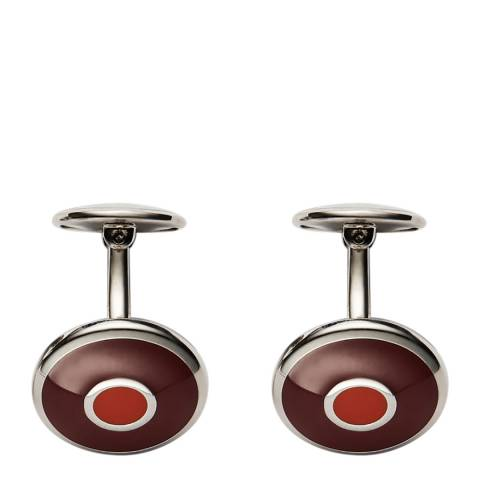 Thomas Pink Red Orange Stainless Steel Enamel Target Cufflinks