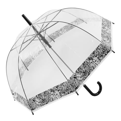 Susino Transparent / Black Snakeskin Border Birdcage Umbrella